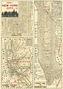 Plakat w stylu vintage New York City Map